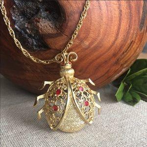 Vintage Goldtone Ladybug Necklace
